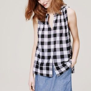 LOFT Sleeveless Buffalo Plaid Gingham Blouse
